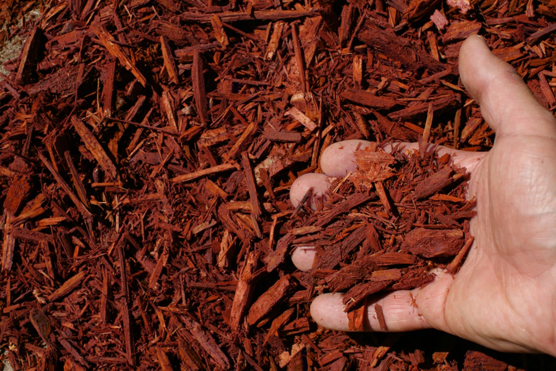 red shredded hardwood mulch hand