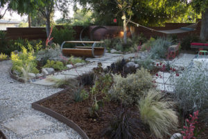 grey water garden with bark and stone mulch