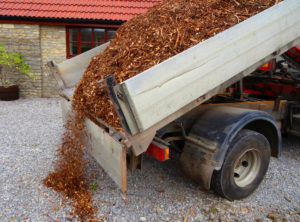 landscape mulch being delivered by truck 300x222